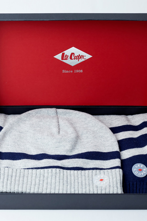 Bonnet et écharpe WAMYR Stripes Navy/Lightgreymel