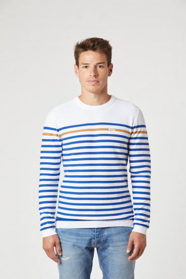 Sweater CABRI White / Sea Blue
